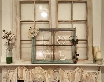 Farmhouse Vintage Window picture Frame. Window photo frame. Rustic window. Distressed window. Customizable Window Frame. Matching windows