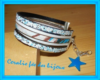blue white glitter and printed leather Cuff Bracelet