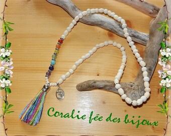 natural wood, charm necklace Chakra Yoga meditation Zen élastifié with 7 beads natural gemstone beads and Ohm Namaste Yoga