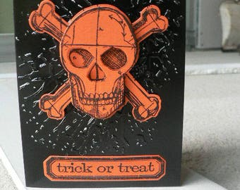 orange halloween skull card