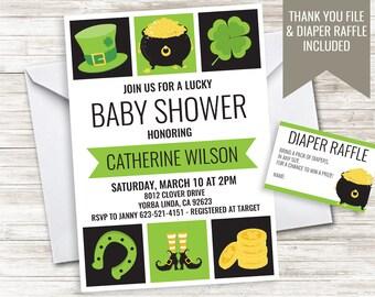 St. Patrick's Baby Shower Invitation Invite Digital 5x7 Saint Patricks Sprinkle Leprechaun Shamrock
