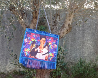 """Tote bag decorated with """"Frida Kahlo"""", very cheerful!"""
