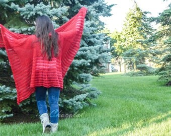Wool Red Poncho