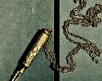 Engraved Bullet Pendant Necklace