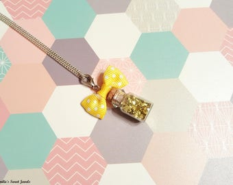 Gold glitter vial necklace