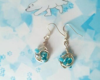 handmade earrings with briolettes in shades of blue and the sea with silvery/wire earrings