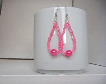 tear drop earrings with seed beads neon pink and neon/sinteticarosa pearl earrings