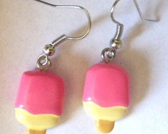 Earrings sticks of ice and ice pink and cream with kawaii H1.7cmxL1cm