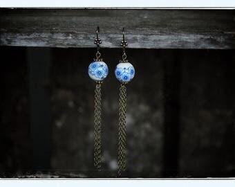 Earrings dangle blue flower