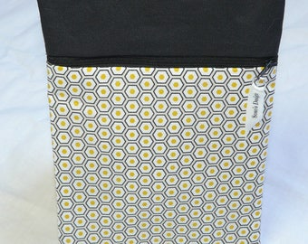 Book cover graphic yellow and black honeycomb black
