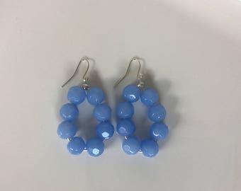 Periwinkle Beaded Hoop Earrings