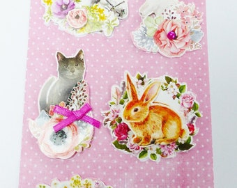 8 stickers 3D animal dog cat rabbit bird horse