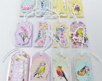 12 tags in 3D stickers label sticker bird Robin tit flower