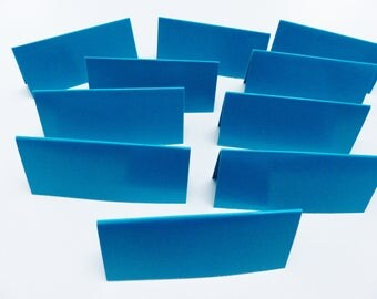 place 10 brand blank rectangle blue cardboard