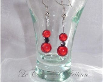 Red magic pearls earrings