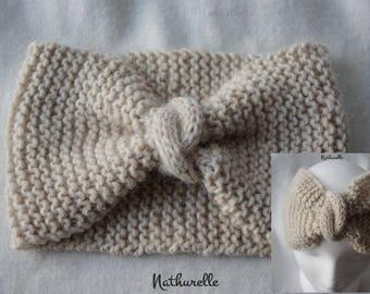 White alpaca and Merino headband