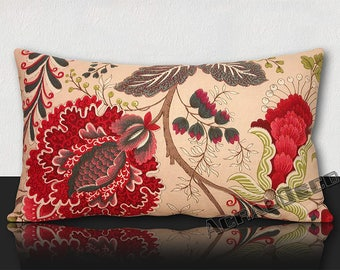 "Pillow ""TOILE de JOUY"" large flowers/raspberry/green imperial/Ecru/Fuchsia/white - 4 different designs."