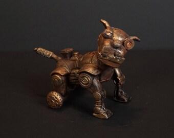 STEAMPUNK dog sculpture.