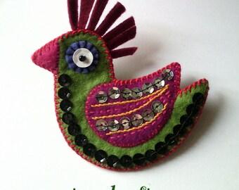 birdie--proud: brooch - embroidered felt bird