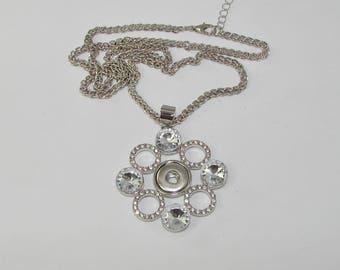Necklace pendant chain rings rhinestone Pr Mini snap 58cm