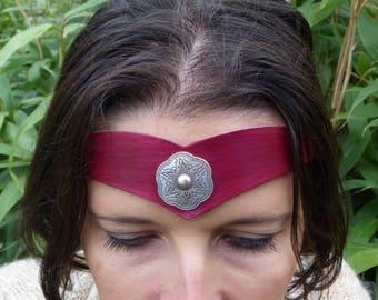 """Tiara """"decorative metal"""" tan leather Red"""