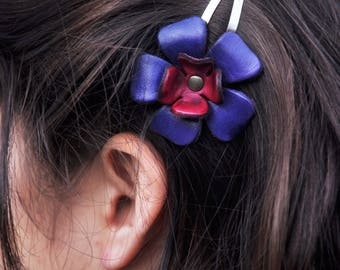 Leather red and purple flower hair clip