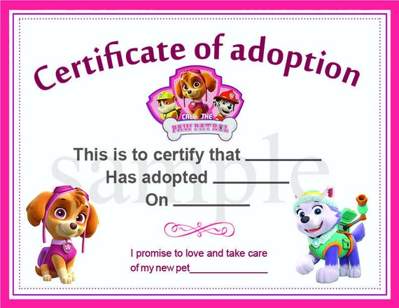 Paw patrol adoption certificate printable digital paw patrol adoption certificate printable digital graphic pet diploma adoptions puppies instant download yadclub Images