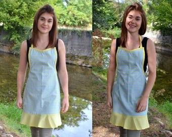 Retro apron for adult sea green and pale yellow
