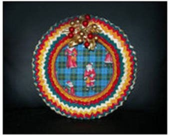 Multicolor patchwork fabric wreath