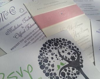 Letterpress Wedding Invitation Sample