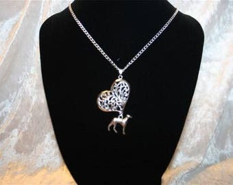 chain with heart charm and Greyhound
