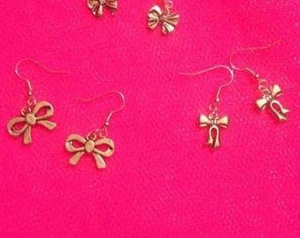 Fancy silver metal bow 3 earrings