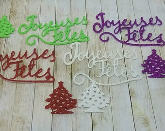 Set of 8 embellisements foam glitter for decoration and Christmas cards