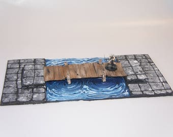 Wooden Bridge with Water Tile for D&D, D20, Warhammer, Terrain and More!