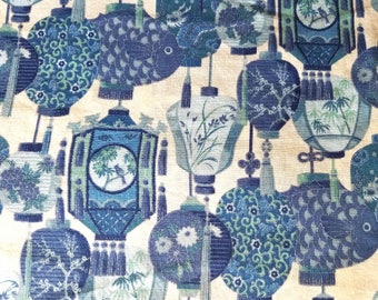 Blue Paper Lantern Cotton Fabric