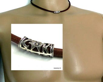 Man leather necklace and 925 N1586