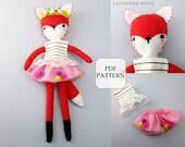 Plush Fox PDF, Plush Toy Pattern, Stuffed Animal Sewing, Sewing Pattern, Plush Fox Pattern, Felt Pattern, Girly Pattern, Stuffed Fox Toy PDF