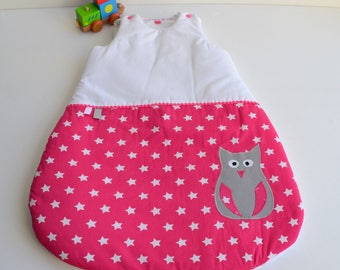 Sleeping bag 0-6 months handmade OWL pink and white @lacouturebytitia stars