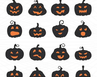 Pumpkin Faces Svg, Halloween png, eps, svg, dxf, Halloween Clipart, Halloween Svg Silhouettes, Silhouette Files, Cut Png File