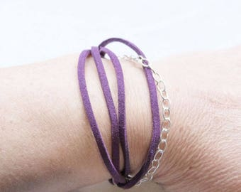"Bracelet ""toggle"" woman purple flat leather and sterling silver chain"