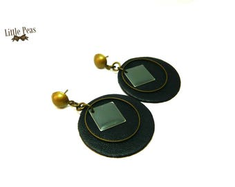 Vintage black and White Leather round earrings