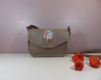 Mini shoulder bag taupe and red/green Liberty of water