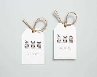Etiquette cadeau noël hibou chouette hiver planche de vignettes Joyeux Noël à offrir pour les fêtes DIY à découper