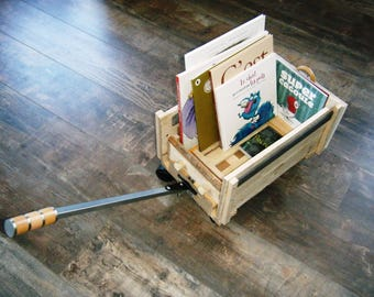Mini wagon books library, or toy box, pallet wood and books