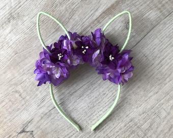 Bunny headband, rabbit flower crown, bunny ears headband, kids headband, toddler headband, woodland, rabbit headpiece,  easter headband
