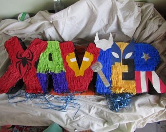 Superhero Pinata, Name Pinata, Custom Hero Party, Superhero Party, Marvel Birthday, Hero Party, Letters Pinata
