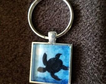 Blue Sea Turtle Keychain