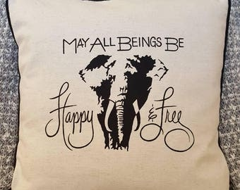 """Elephant May All Beings Be Happy & Free 18""""×18"""" Pillow Cover with Piping"""