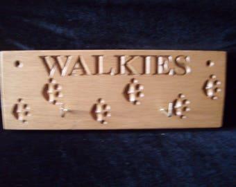 Handmade wooden dog lead holder