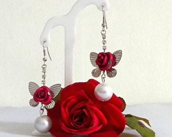 Hot pink butterfly rhinestone Silver earrings